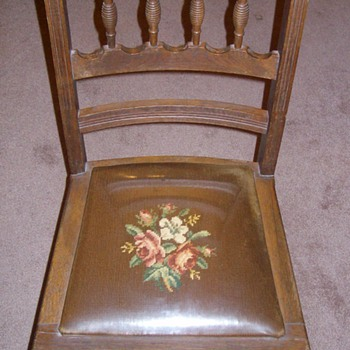 """Really Neat """"old"""" Oak Chair with plastic covered seat - Furniture"""