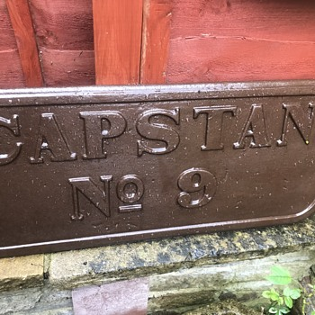 Cast iron Capstan Number 9 sign - Advertising