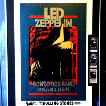 BG199 AOL Serigraph +original Tix set.-Led Zeppelin, Bonzo Dog Band