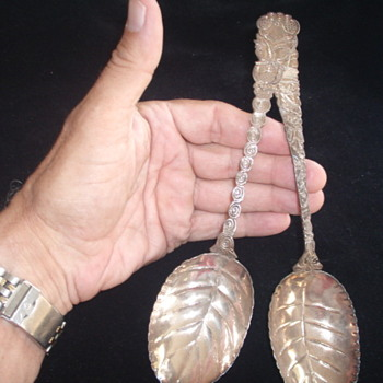 Large Japanese Silver Serving Spoons- How Old? - Silver