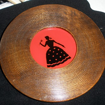 Reverse Painted Young Lady Silhouette '45 RPM' Wood Frame - Fine Art