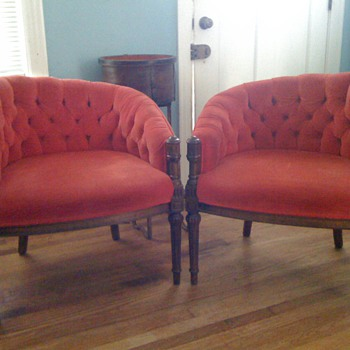 FUNKY 1970s RED VELOUR CHAIRS - Furniture