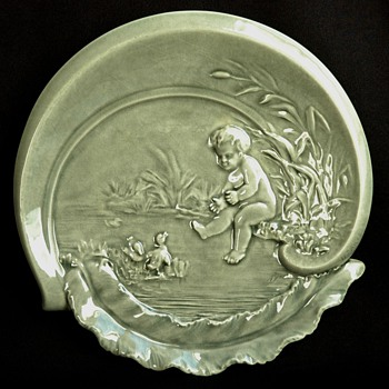 french art nouveau majolica ashtray by BINET - Art Nouveau