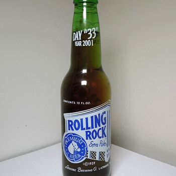 2001 Rolling Rock Beer Bottle Day 33 Anchor Glass Latrobe Brewing Employee Promotional Special ACL Sealed Capped - Bottles