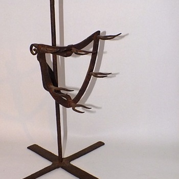 18TH c. WROUGHT IRON HEARTH GAME BIRD ROASTING SPIT - Kitchen