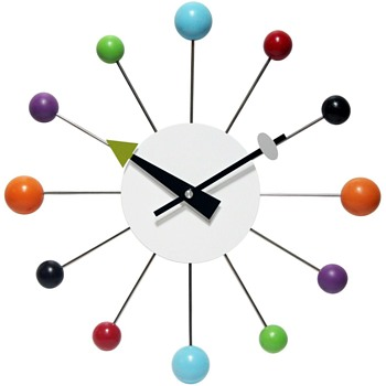 Vintage ball clock styled after iconic George Nelson design multi colored balls - Clocks