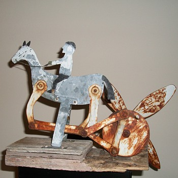 Antique Folk Art Horse and Rider Whirligig Folk Art Jim Linderman - Folk Art