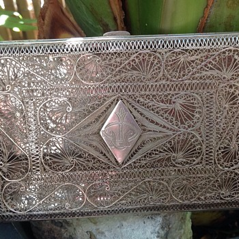Solid Silver Filigree Cigarette Case - Tobacciana