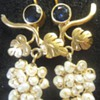 STUNNING Antique 22K gold sapphire and pearl grapes earrings