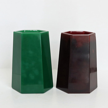 Rindskopf Or Egermann Lithyalin Hexagonal Vases - Art Glass