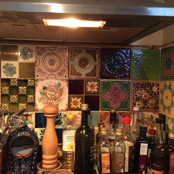Cooker and sink splashbacks created from mixed vintage tiles - Pottery