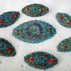 Chinese Kingfisher Feather Brooches Set