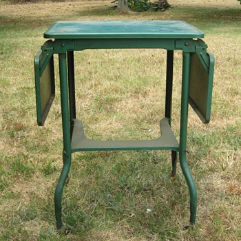 Typewriter Table - Metal with wood casters - Furniture