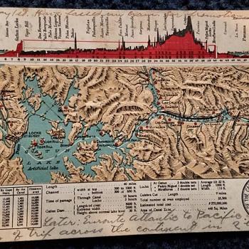 Antique Raised Panama Canal Topo Postcard - Postcards