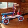 Playskool riding scooter, red, white and blue with plastic seat
