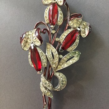 Trifari Alfred Spaney Red Rhinestone & Enamel Brooch - Costume Jewelry