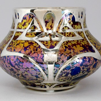 Fritz Heckert TH211 Amethyst Marmopal, with Silver overlay, 1900 - Art Glass