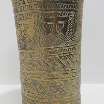 Brass Carved Vase or Glass