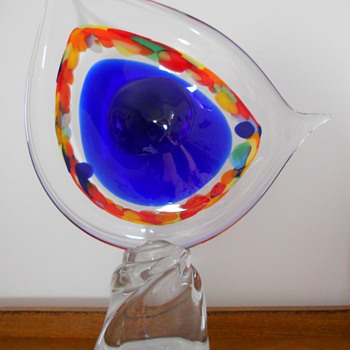 "Heavy stylized ""Eye"" sculpture...Looking for any identifying information and value! - Art Glass"