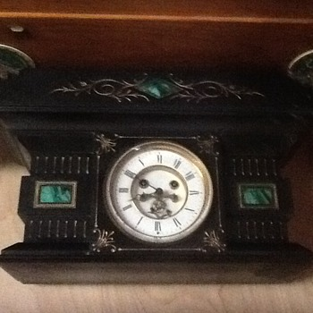 Very heavy Marbel or slate mantle clock - Clocks