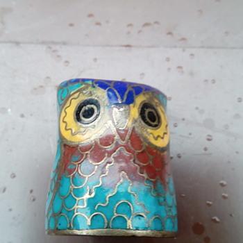 My cloisonné owl thimble