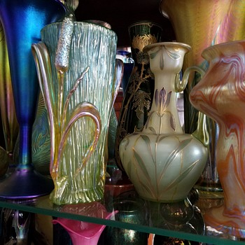 Assorted Bohemian plus other Vases - Art Glass