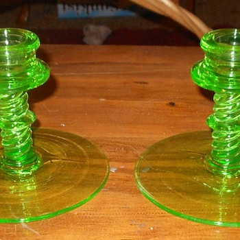 Green Depression Glass Candle Holders. - Glassware