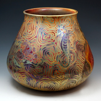 Delphin Massier Japonisme/Symbolist Ceramic Vase