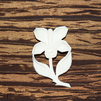 Carved Bone Brooch/Pin - Costume Jewelry