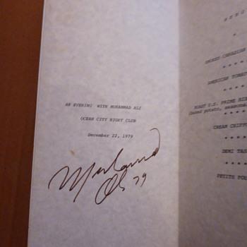 Muhammad Ali Autograph Menu 1979
