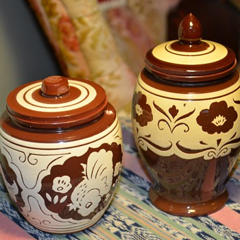 Two Hand-Thrown, Slip-decorated Brown Jars - Pottery