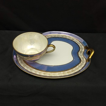 Noritake Blue Luster Pattern # N246 Snack Tray and Tea Cup 1918 - China and Dinnerware