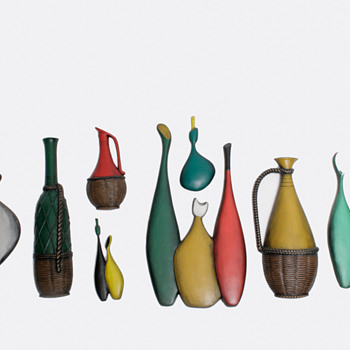 Mid-Century Ceramic Bottle Wall Art - Pottery
