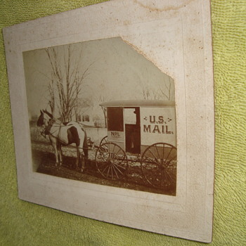 Antique photo of US mail horse drawn wagon! - Photographs
