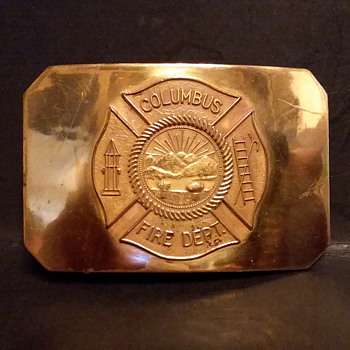 Columbus Ohio, fireman's stamped brass belt buckle - Accessories