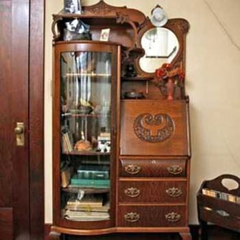 Victorian Secretary with Curved Glass Cabinet - Furniture