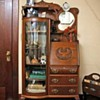 Victorian Secretary with Curved Glass Cabinet