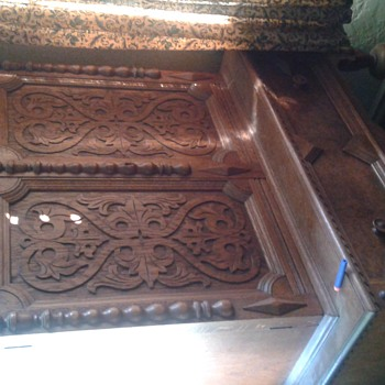 Antique two door carved cabinet