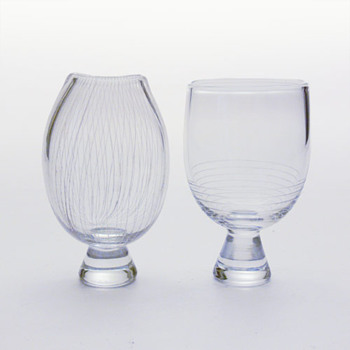 2 vases: Elsa Söderberg's for Hovmantorp and Sven Palmqvist's for Orrefors - Art Glass