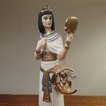 Virgo Egyptian style brooch , Lenox Cleopatra figurine  - Costume Jewelry