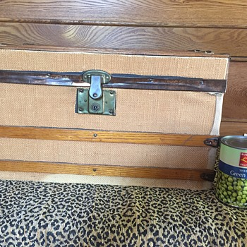 Antique flat top oak slat doll trunk