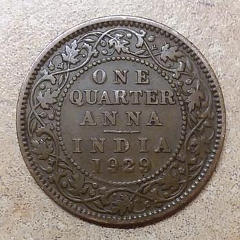 1929 India one quarter Anna coin - World Coins