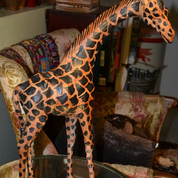 18 inch tall Giraffe made from Painted Stretched Leather with Glass Eyes. - Animals