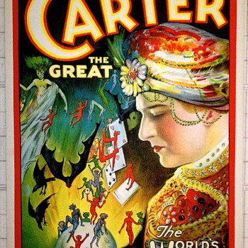 "Original 1926 Carter ""World's Weird Wonderful Wizard"" Stone Lithograph Window Card - Posters and Prints"