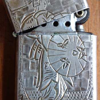 Vintage Sterling Silver Japanese Geisha Etched Lighter - Tobacciana