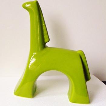 "MCM Jaru Green Ceramic Trojan Horse?  10"" - Pottery"