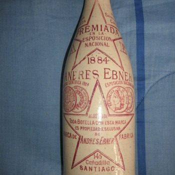 Old earthenware bottle.