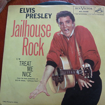 "1957 Elvis Presley ""Jailhouse Rock"" b/w ""Treat Me Nice"" 45rpm  - Records"
