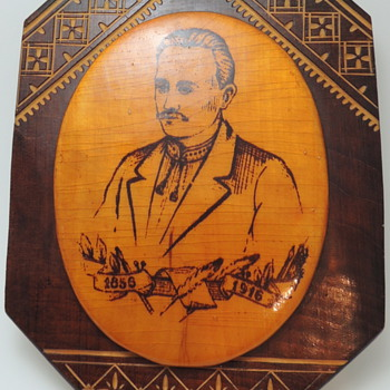 Hutsul Style Carving & Inlaid Souvenir Wall Plate - IVAN FRANKO