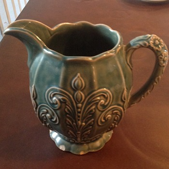 Green Majolica style pitcher - Pottery